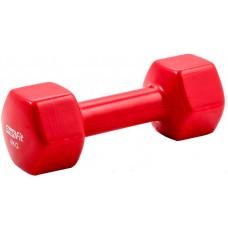 Гантель в виниловой оболочке PROFI-FIT 4 кг, форма шестигранник, красный